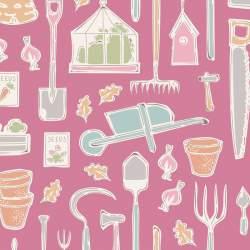 Tilda Tiny Farm Tools Pink, Tessuto Rosa Attrezzi della Fattoria