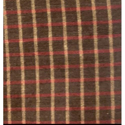 Tessuto Giapponese Tinto in Filo, fondo Marrone con Quadrettatura Gialla e Rossa
