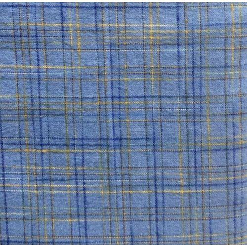 Benartex, Tessuto Giapponese Tinto in Filo, Fondo Azzurro Quadrettato Blu e Giallo