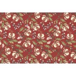 Lecien Madame Fleur by Jera Brandvig, tessuto rosso con fiori e foglie