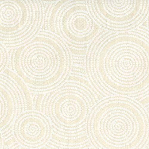 Basic Palette 108, Tessuto per Retro Quilt Bianco con Cerchi Tono su Tono
