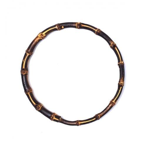 Manici a Cerchio per borse in Bamboo Scuro - 22 cm, 2 Manici