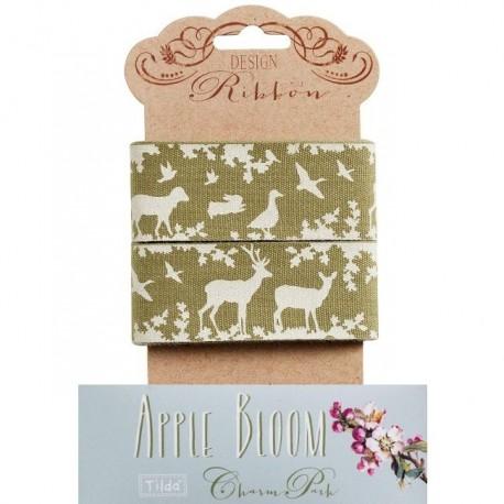 "Tilda ribbon 45 mm Jean Olive ""Apple Bloom"""