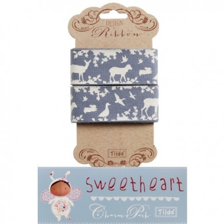 Tilda ribbon 30 mm Forest Blue Sweetheart Tilda Fabrics - 1
