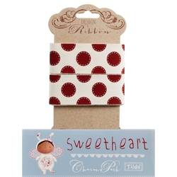 Tilda ribbon 30 mm Sewn Spot Red Sweetheart