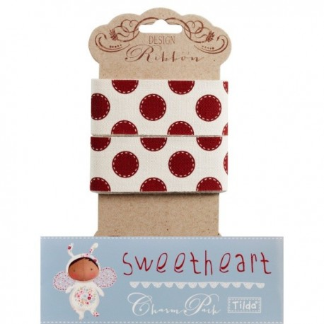 Tilda ribbon 30 mm Sewn Spot Red Sweetheart