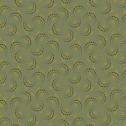Henry Glass Esther's Heirloom Shirtings by Kim Diehl, Tessuto Verde Acqua con Foglie e Pois