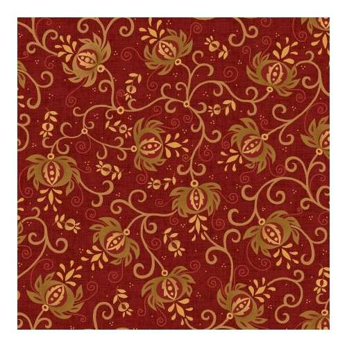 Henry Glass Idaho Prairie Star by Kim Diehl Collection, Tessuto Rosso con Melograni