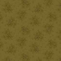 Henry Glass Esther's Heirloom Shirtings by Kim Diehl, Tessuto Verde con Mazzetti di Fiori