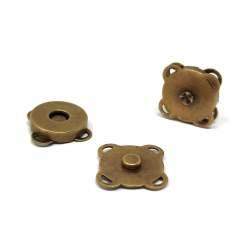 Bottoni per borse Magnetico in Metallo Oro Antico - 14 mm, 2 Bottoni da Cucire