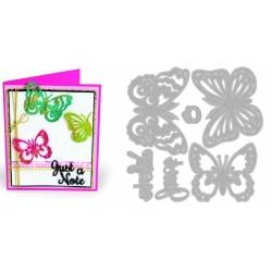 Thinlits Die Set 6PK w/Textured Impressions Just a Note Butterflies by Courtney Chilson