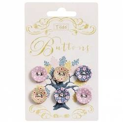 Tilda fabric buttons 17 mm, 6 pz Autumntree