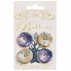 Tilda fabric buttons 25 mm, 4 pz Autumntree