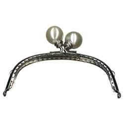 Chiusura Clutch Curva per borse, in metallo con Perle Bianche - 13 cm