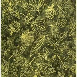 Wilmington Prints Fall Colors by Katy Rusynyk, Tessuto Fondo Verde Scuro con Foglie Chiare