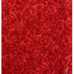 Benartex, Tessuto Stampato Fondo Rosso Sfumato con Rami