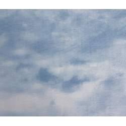 South Sea Import Quail Run by Carolyn Mock, Tessuto Azzurro con Nuvole Bianche