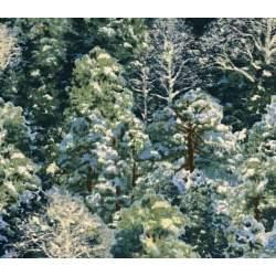 South Sea Import Winter Enchantment by Claire Goldrick, Tessuto Verde con Alberi