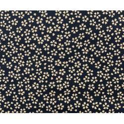 Tessuto Giapponese, Tessuto Nero con Disegno Floreale