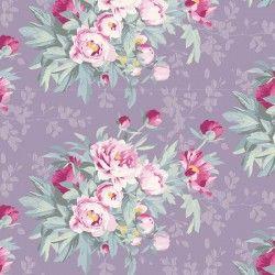 Tilda Woodland Hazel, Tessuto Lavanda con grandi Rose