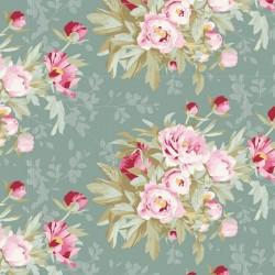 Tilda Woodland Hazel, Tessuto Salvia con grandi Rose