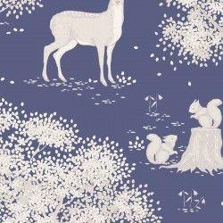 Tilda Woodland, Tessuto Blu con Animali del Bosco