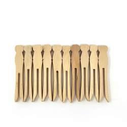 10 Mollette di Legno con Profilo e Testa Piatti per Bambole - 9.5 cm