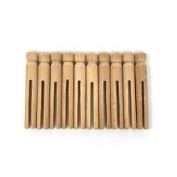 10 Mollette di Legno con Profilo Rotondo e Testa Piatta per Bambole - 9.5 cm