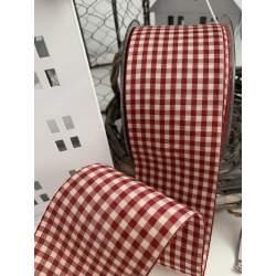 Nastro a Quadretti Colore Panna e Rosso Altezza 55 mm