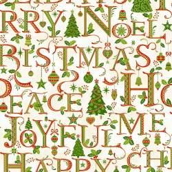 Hoffman Holiday Decadence Holiday Words, Tessuto di Natale con Scritte di Natale e inserti in Metallo