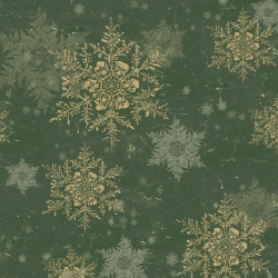 Clothworks Let Nature Sing Forest Snowflakes, Tessuto Verde Foresta con Fiocchi di Neve