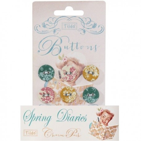 Tilda fabric buttons 17 mm, 6 pz Spring Diaries
