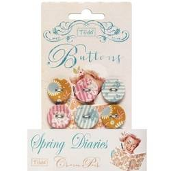 Tilda fabric buttons 20 mm, 6 pz Spring Diaries