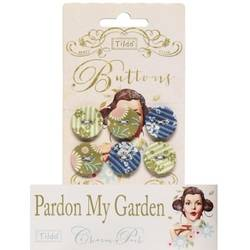 "Tilda fabric buttons 20 mm, 6 pz ""Pardon my Garden"""
