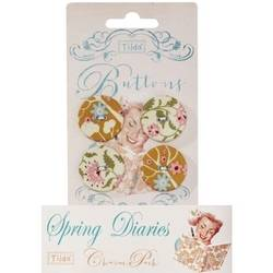 Tilda fabric buttons 25 mm, 4 pz Spring Diaries