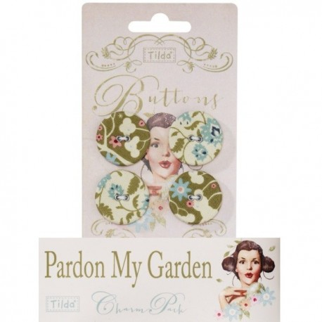Tilda fabric buttons 25 mm, 4 pz Pardon my Gardens