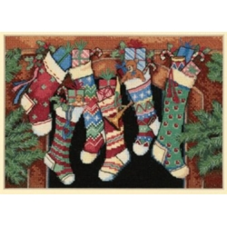 Dimensions Craft, The Stockings Were Hung...in Counted Cross Stitch, Kit Punto Croce