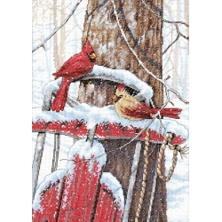 Dimensions Craft, Cardinals on Sled, Kit Punto Croce