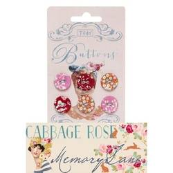 Tilda fabric buttons 17 mm, 6 pz Cabbage Rose