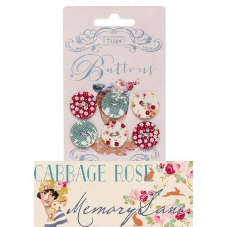 """Tilda fabric buttons 20 mm, 6 pz """"Cabbage Rose"""""""