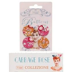 Tilda fabric buttons 25 mm, 4 pz Cabbage Rose