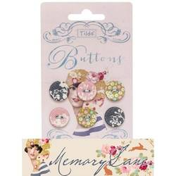 Tilda fabric buttons 17 mm, 6 pz Memory Lane