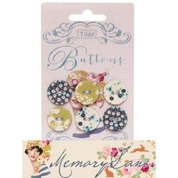 Tilda fabric buttons 20 mm, 6 pz Memory Lane