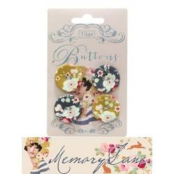 Tilda fabric buttons 25 mm, 4 pz Memory Lane