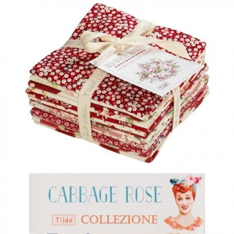 Tilda Fat Eight Red/White Bundle 14 pz Cabbage Rose