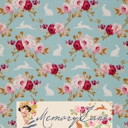 Tilda 110 Rabbit & Roses Teal Memory Lane