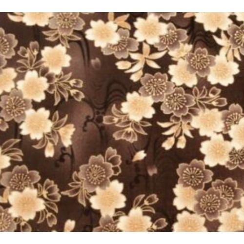 Robert Kaufman Imperial Collection, Tessuto Marrone con Fiori Chiari