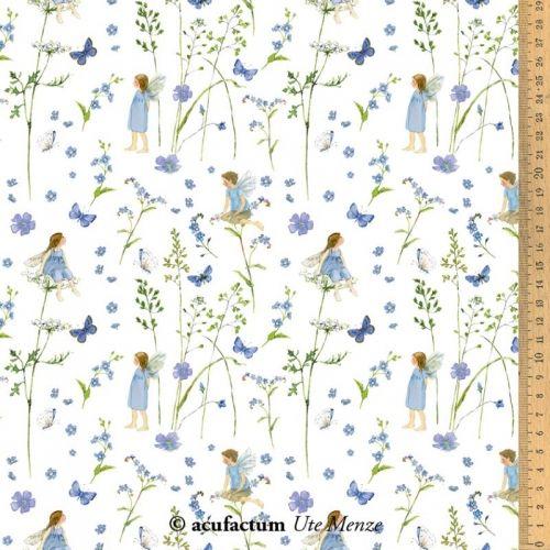 Acufactum Tessuto di cotone Fate nel Giardino Blu