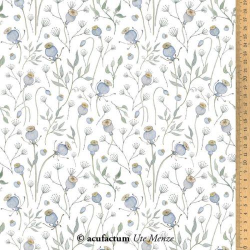 Acufactum Tessuto di cotone Bianco con Papaveri