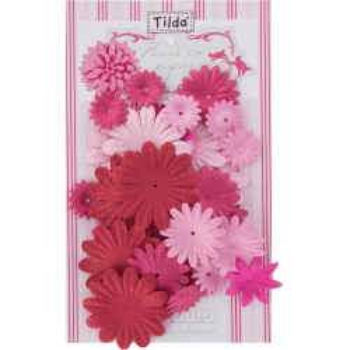 Tilda 40 Fiori di Carta Decorativi Rosa e Rossi